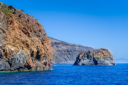 lipari: Rocky islands landscape in the Mediterranean sea. Aeolian islands, Italy Stock Photo