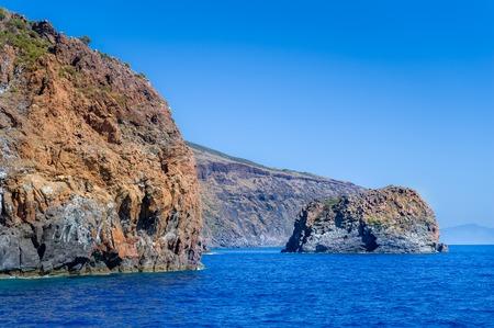 vulcano: Rocky islands landscape in the Mediterranean sea. Aeolian islands, Italy Stock Photo