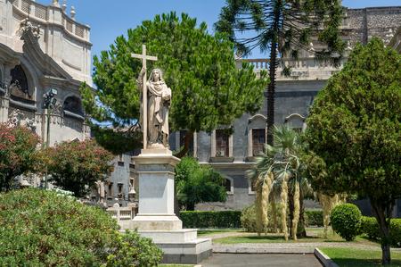 Historical religious statue in Catania city. Sicily, Italy photo