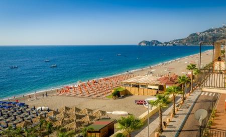 taormina: Sicilian beach at Letojanni village near Taormina. Sicily, Italy