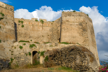 backdoor: Castle of Milazzo ancient walls, towers and backdoor. Sicily, Italy