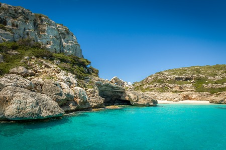 Ibiza bay Cala Marmolis with famous wild sand beach. Baleares, Spain