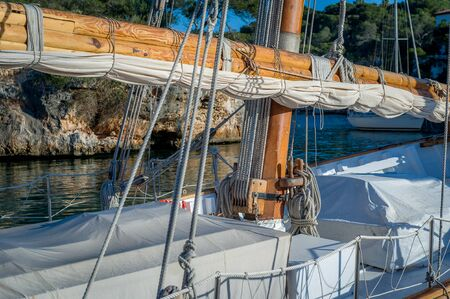 gaff: Retro sailing boat mast and deck details. Balearic islands, Spain