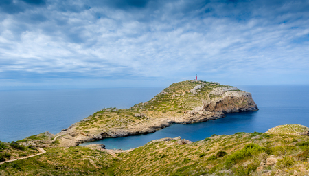 Cabrera island aerial landscape. View to the lighthouse on the cape. Baleares, Spain Stock Photo