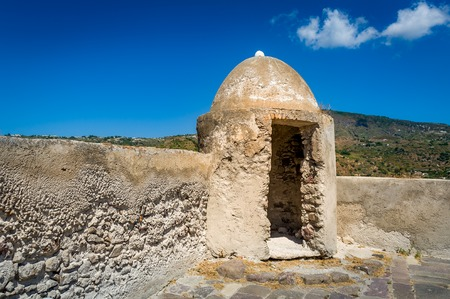 lipari: Old medieval fortress walls and tower at Lipari island, Sicily, Italy. Stock Photo