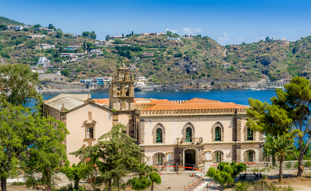 Historic building and Lipari island landscape. Sicily, Italy