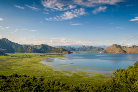 natural landmark: Skadar lake national park. Lake surrounded by mountains. Montenegro.