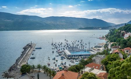 boka: Herceg Novi harbor pier, anchorage and sea pool in Boka Kotorska bay