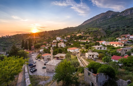 Sunset cityscape panorama of Old Bar town from ancient fortress walls. Bar, Montenegro.