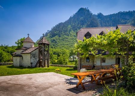 hill of tara: The Dobrilovina Monastery chapel and living house, an old Orthodox monastery in Donja Dobrilovina. Montenegro