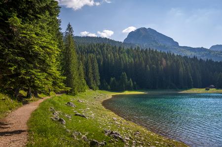 Hiking trails on the shores of Black Lake. Famous national park Durmitor. Zabljak, Montenegro