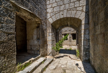 main gate: Fort Kabala main gate and entrance to old abandoned fortress. Historical heritage and touristic attraction, Montenegro.