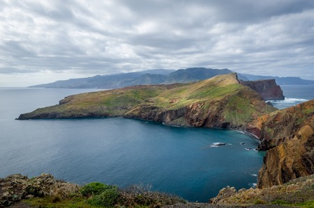 sea cliff: East tail of Madeira island landscape. Popular hiking route, Madeira, Portugal.