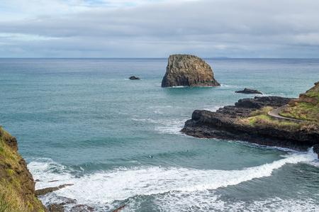 surfers: Aerial view of popular surfers beach Praia da Alagoa in Porto da Cruz.Madeira island, Portugal.