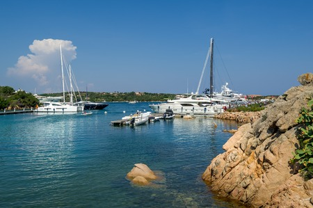 Yacht marina at Porto Cervo bay. Scenic views of Sardinia island, Italy