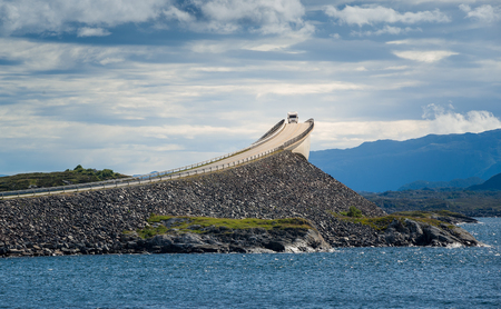 Camper at Atlantic Road bridge, Norway. 版權商用圖片