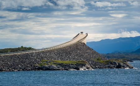 scandinavia: Camper at Atlantic Road bridge, Norway. Stock Photo