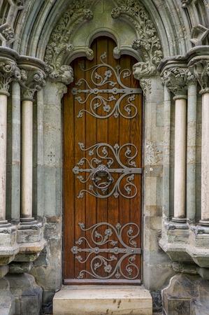 Old cathedral door, Nidaros, Trondheim, Norway.