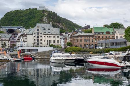 Boat marina at Alesund, Norway.