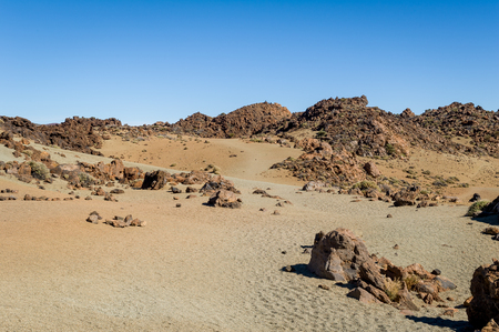 Volcanic sand and rock desert at Teide national park Stock Photo - 114302248