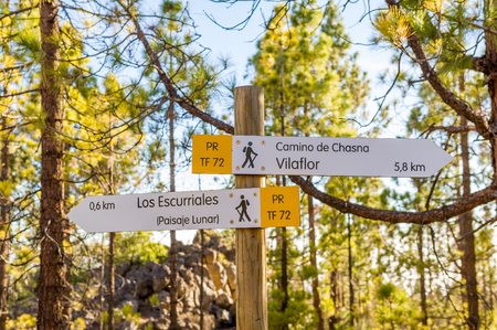 Paisaje Lunar and Vilaflor hiking route sign Stock Photo - 114302254