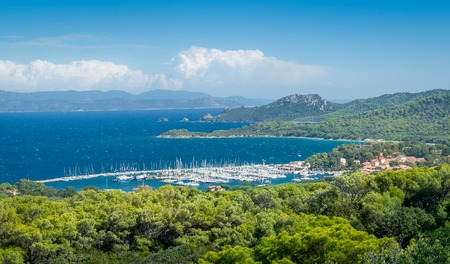 Porquerolles island and marina view Stock Photo - 114302198