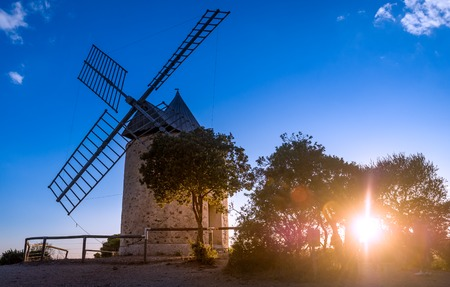 Sunset at old windmill of Porquerolles island