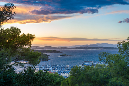 Twilight landscape of Porquerolles island, landscape from the fortress viewpoint. Provence Cote d'Azur, France Stock Photo - 114302205