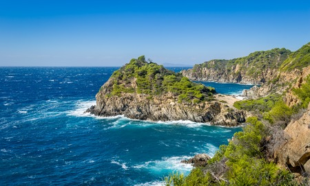 Porquerolles island rocks and sea at windy day, Provence Cote d'Azur, France Stock Photo - 114302207