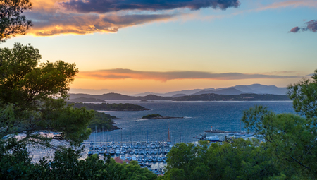 Sunset panoramic view from the fortress and museum of Porquerolles island. Provence Cote dAzur, France Stock Photo