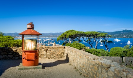 Old lighthouse at Saint-Tropez maritime museum fortress. Provence Cote dAzur, France.