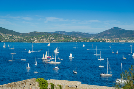 Lots of sailing boats at Saint-Tropez bay. View from maritime museum fortress. Provence Cote dAzur, France.