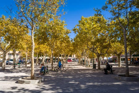 Saint-Tropez central square of old town. Provence Cote dAzur, France. Stock Photo