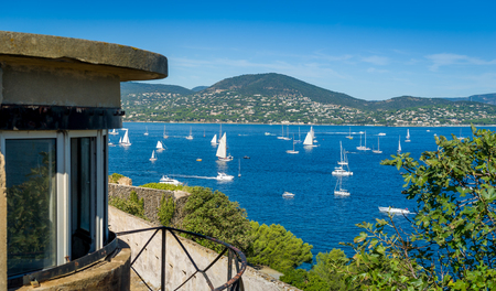View from town fortress to the bay with yacht anchorage in Saint-Tropez. Provence Cote dAzur, France.