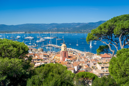 Saint-Tropez old town and yacht marina view from fortress on the hill. Provence Cote d'Azur, France.