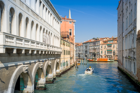 Views of Venice touristic center - historic buildings and water channels. Veneto, Italy.