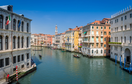 Channel Grande and old houses on the both sides, traditional Venice photo, Italy. Stock Photo