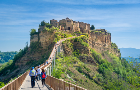 Medieval town on the mountain - Civita di Bagnoregio, popular touristic stop at Tuscany, Italy. Stock Photo