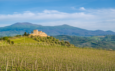 Toscana Val dOrcia vineyards and old castle. Travel Tuscany landscapes, Italy.