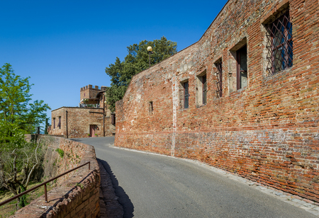Road to Certaldo fortress and medieval italian comune at Toscana region.