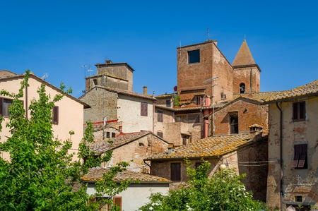Historic buildings and towers of Certaldo old town. Toscana landmarks, Italy.