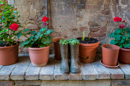 Flowers planted in the old resin boots. Streets of Certaldo fortress. Toscana, Italy.