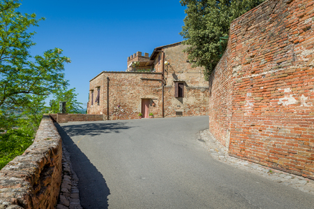 Outer fortress walls of Certaldo old town. Toscana, Italy. Stock Photo