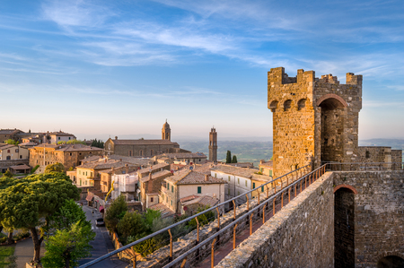 Medieval fortress wall view from the tower. Montalcino, Toscana region, Italy.