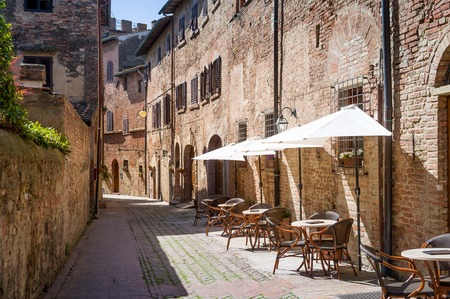 Medieval sreets at touristic center of Certaldo old town. Tuscany, Italy. Stock Photo