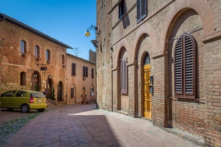 Streets of Certaldo old town inside the medieval fortress. Toscana, Italy. Stock Photo