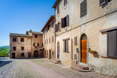 Certaldo old town square and viewpoint. Historic fortress and village of Toscana, Italy.