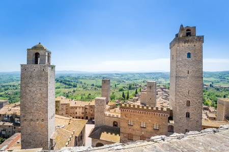 Famous ancient towers of San Gimignano, wich are now open as hotels and museums. Toscana, Italy.