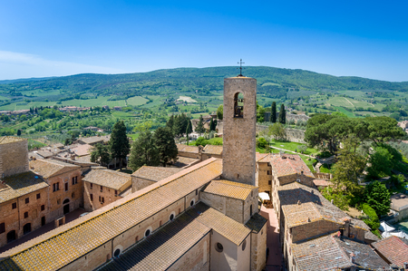 Panoramic view of San Gimignano from one of its towers. Tuscany, Italy.