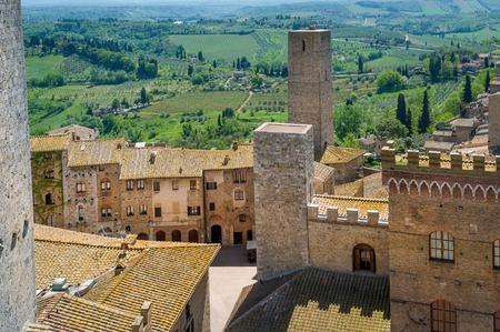 Ancient fortress walls and towers of San Gimignano fortress. Tuscany, Italy. Stock Photo